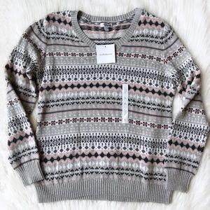 Croft & Barrow Gray V-neck Sweater Large NWT